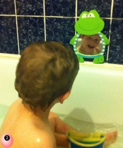 child in mirror