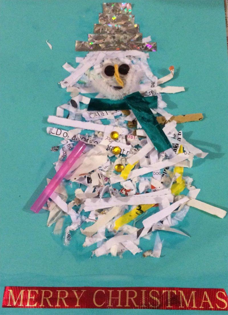 shredded snowman card