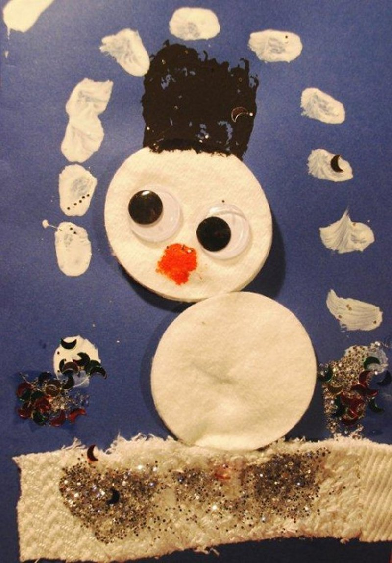 snowman Christmas card with cotton pads