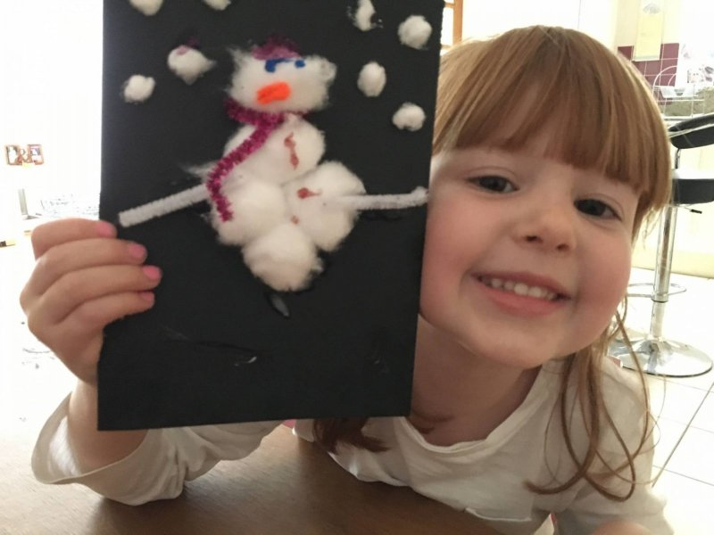 snowman card with cotton wool