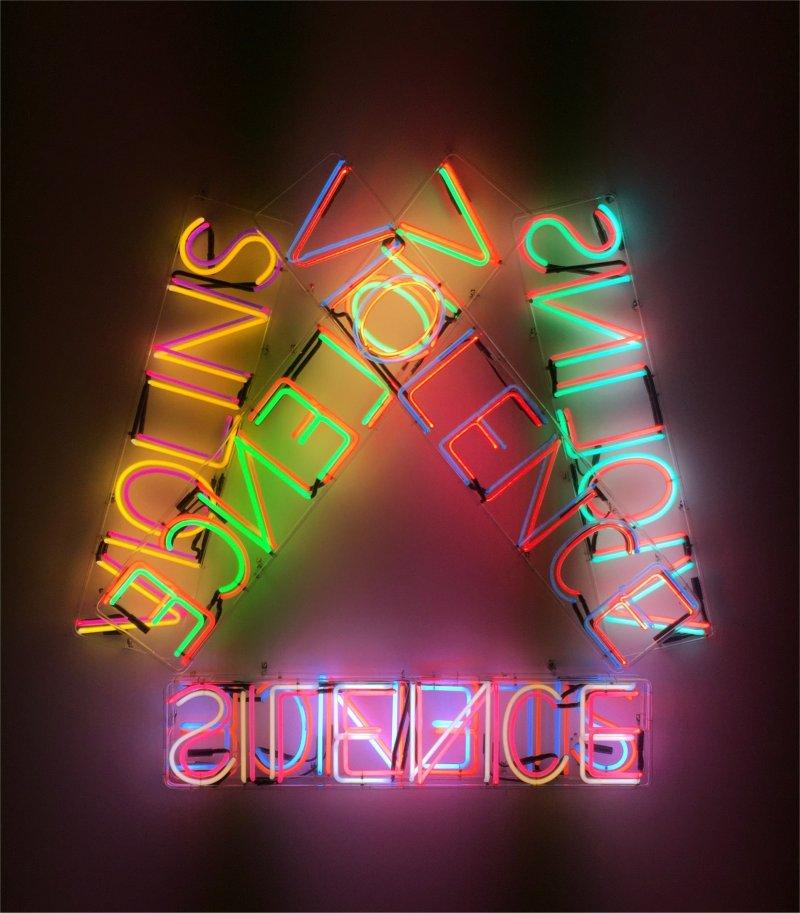 jumbled up and backwards neon words that make no sense