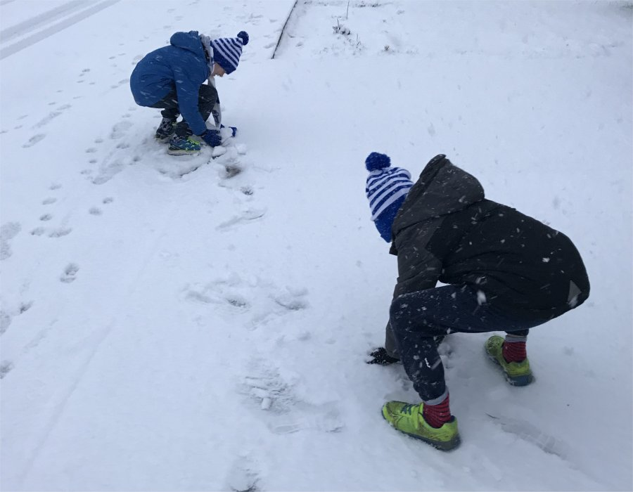 two boys playing together in the snow